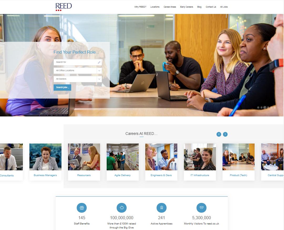 best places to work - reed careers homepage screenshot