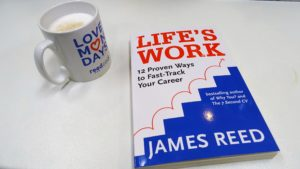 Life's Work Book next to coffee