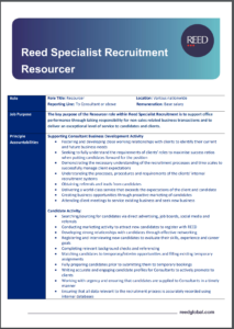 recruitment resourcer job description - careers at reed